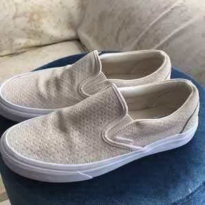 Vans off the wall leather suede canvas loafers